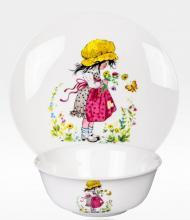 Набор тарелок детский костяной фарфор Девочка с бабочкой Japonica Япония