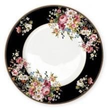 Тарелка обеденная 26,5 см костяной фарфор Цветочный карнавал Black Easy Life