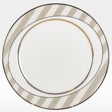 Набор закусочных тарелок на 6 персон костяной фарфор Серые полоски Japonica Япония