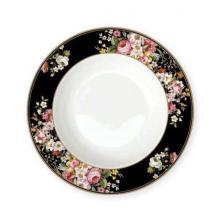 Тарелка суповая 23 см костяной фарфор Цветочный карнавал Black Easy Life