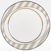 Набор подстановочных тарелок на 6 персон костяной фарфор Серые полоски Japonica Япония