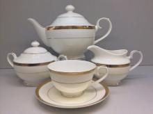 Сервиз чайный на 6 персон костяной фарфор Золото Japonica Япония