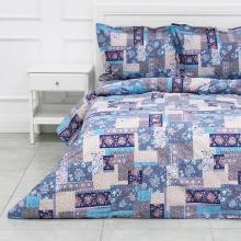 Комплект постельного белья 1,5-спальный перкаль Лоскутная мозаика синий Трехгорная мануфактура