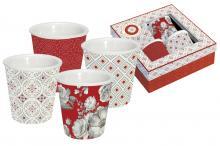 Набор из 4-х кружек для эспрессо 0,1 л фарфор Цветовая палитра красная в подарочной упаковке Easy Life