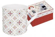 Кружка 0,3 л фарфор Цветовая палитра красная с узором в подарочной упаковке Easy Life