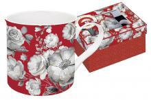 Кружка 0,3 л фарфор Цветовая палитра красная с цветами в подарочной упаковке Easy Life