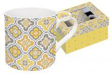 Кружка 0,3 л фарфор Цветовая палитра жёлтая с узором в подарочной упаковке Easy Life