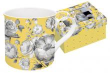 Кружка 0,3 л фарфор Цветовая палитра жёлтая с цветами в подарочной упаковке Easy Life