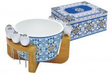 Набор для закуски: салатник для оливок + 8 шпажек на подставке Майолика (голубая) в подар. упак.