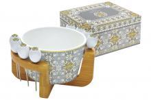 Набор для закуски: салатник для оливок + 8 шпажек на подставке Майолика (серая) в подарочной упак.