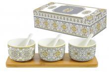 Набор для закуски: 3 салатника с 3 ложками на подносе Майолика (серая) в подарочной упак.