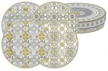Набор из 4-х десертных тарелок Майолика (серая) в подарочной упак.