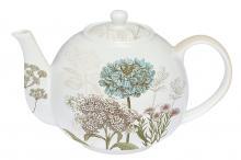 Чайник с ситечком бело-бежевый 1,0 л фарфор Ботаника Easy Life