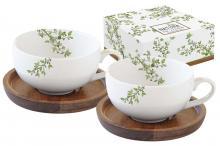 Набор из 2-х чашек для кофе с крышками/подставками из акации Натура в подарочной упаковке