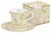 Набор: 2 чашки + 2 блюдца для кофе Дворцовый парк(бежевый) в подарочной упак.