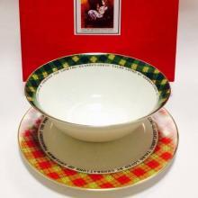 Набор тарелок детский костяной фарфор Алиса клетка Maebata Япония