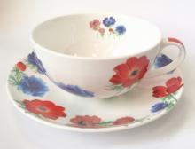 Чайная пара 350 мл костяной фарфор Красно-синие цветы Japonica Япония