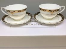 Набор чайных пар на 2 персоны костяной фарфор Дворцовый кобальт Japonica Япония