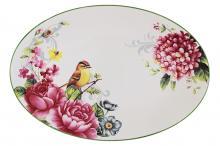 Блюдо овальное Цветы и птицы