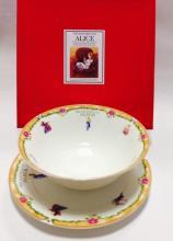 Набор тарелок детский костяной фарфор Алиса с оранжевым кантом Maebata Япония