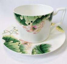 Набор чайных пар на 6 персон костяной фарфор Нимфея Japonica Япония