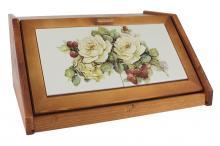 Деревянная хлебница с керамическими вставками Роза и малина