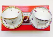 Набор чайных пар детский костяной фарфор Алиса с оранжевым и фиолетовым кантом Maebata Япония