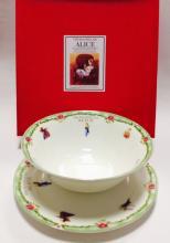 Набор тарелок детский костяной фарфор Алиса с зелёным кантом Maebata Япония