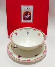 Набор тарелок детский костяной фарфор Алиса с розовым кантом Maebata Япония
