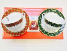 Набор чайных пар детский костяной фарфор Алиса клетка Maebata Япония
