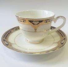 Набор кофейных пар для эспрессо на 2 персоны костяной фарфор Дворцовый кобальт Japonica Япония