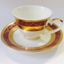 Набор кофейных пар для эспрессо на 2 персоны костяной фарфор Королевский рубин Japonica Япония
