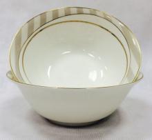 Набор из 2-х салатников 18 см костяной фарфор Серые полоски Japonica Япония