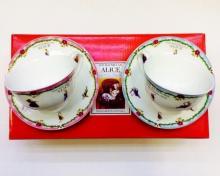 Набор чайных пар детский костяной фарфор Алиса с голубым и розовым кантом Maebata Япония
