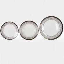 Набор из 18-ти тарелок на 6 персон костяной фарфор Серебряный иней Japonica Япония