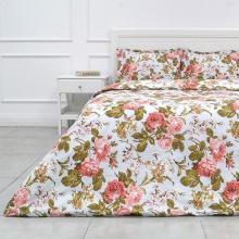 Комплект постельного белья Евро перкаль Прохоровская роза голубой Трехгорная мануфактура