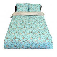 Комплект постельного белья Семейный перкаль Виктория голубой Трехгорная мануфактура