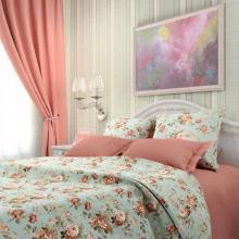 Комплект постельного белья 1,5-спальный сатин Розарий голубой Трехгорная мануфактура