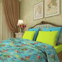 Комплект постельного белья Евро сатин Тропические бабочки голубой Трехгорная мануфактура