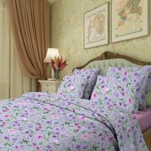 Комплект постельного белья Евро сатин Аквилегия фиолетовый Трехгорная мануфактура