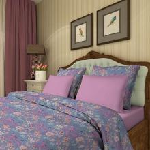 Комплект постельного белья Евро сатин Акварельный орнамент Трехгорная мануфактура