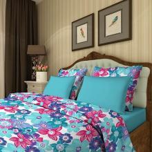 Пододеяльник 1,5-спальный сатин Цветочный калейдоскоп голубой Трехгорная мануфактура