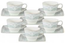Набор 12 предметов: 6 чашек + 6 блюдец для чая (голуб.) Инфанта