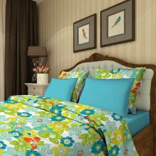 Комплект постельного белья Семейный сатин Цветочный калейдоскоп зелёный Трехгорная мануфактура
