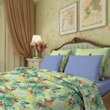 Комплект постельного белья Семейный сатин Тропические бабочки зелёный Трехгорная мануфактура