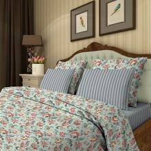 Комплект постельного белья Семейный перкаль Жар-птица голубой Трехгорная мануфактура