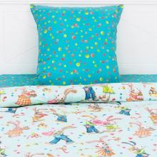 Комплект постельного белья 1,5-спальный детский перкаль Зайчики с любовью голубой Трехгорная мануфактура