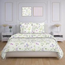 Комплект постельного белья 1,5-спальный бязь Цветной горошек белый Трехгорная мануфактура