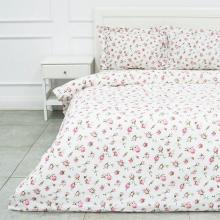 Комплект постельного белья 1,5-спальный бязь Розовые бутоны белый Трехгорная мануфактура