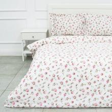 Комплект постельного белья Евро бязь Розовые бутоны белый Трехгорная мануфактура